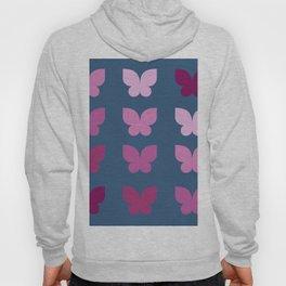 Butterflies in Purple Ombre with Dark Blue Background Hoody