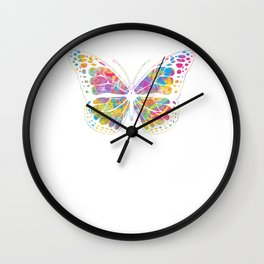 Pansexual Butterfly graphic Streetwear Graffiti Hand Drawn Wall Clock