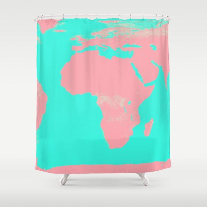 Undistorted World Map Pink Aqua Shower Curtain by vintageby2sweet