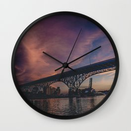Sunset on the River Wall Clock