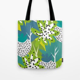 White strawberries and green leaves Tote Bag