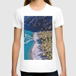 Lake Oeschinen 4k aerial view swiss landmarks Kandersteg beautiful nature Switzerland Europe HDR T-shirt