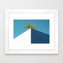 Cactus blue white Framed Art Print