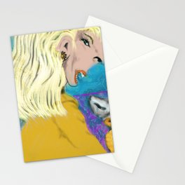 Woman and Puppies Stationery Cards