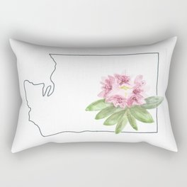 washington // watercolor rhododendron state flower map Rectangular Pillow