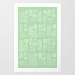 Birdcages (Green) Art Print