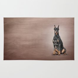 Drawing Doberman dog Rug