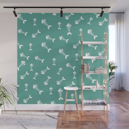 Green blue and white fishbone pattern Wall Mural