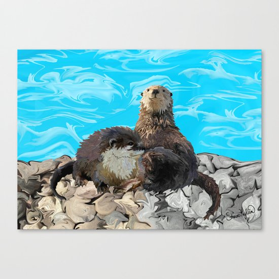 Where the River Meets the Sea Otters Canvas Print