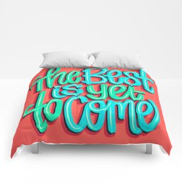 The Best Is Yet To Come (Version 3) Red, Mint Green // Quote Hand Lettering Art Comforters