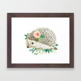 hedgehog with rose Framed Art Print