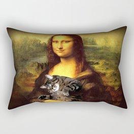 Mona lisa fat crazy cat photo kitty fatso famous painting Rectangular Pillow