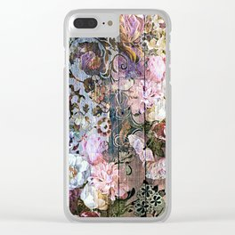 Shabby Chic floral rococo woodpanel Clear iPhone Case