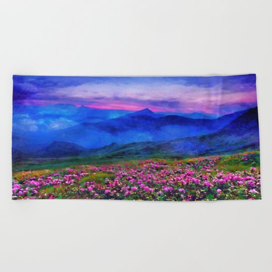 Flowering mountains in the clouds Beach Towel