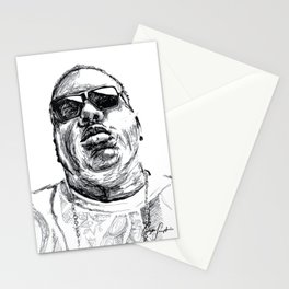 Digital Drawing 33 - Notorious B.I.G. Black and White Stationery Cards