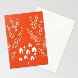 Line Vine Village in Red, Line Art Community Stationery Cards