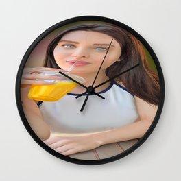 Lana Rhoades digital painting digital juice pornstar women artwork Wall Clock