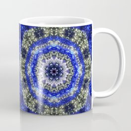 Happy Blues - blue and white kaleidoscope from lighted trees 1430 Coffee Mug