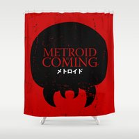 metroid Shower Curtains featuring House Metroid by Alecxps