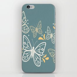 Butterfly White On Blue Background iPhone Skin