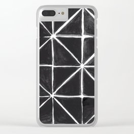 Wonky Monochrome Painted Triangles Clear iPhone Case