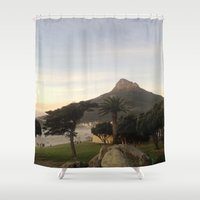 south africa Shower Curtains featuring Table Mountain, South Africa by LFT designs