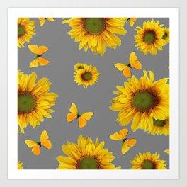 Fluttering Yellow butterflies Sunflowers Grey Pattern Art Art Print