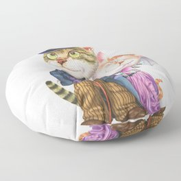 A couple of cats in retro fashion Floor Pillow