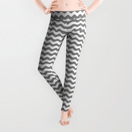 Wavy Stripes (Gray/White) Leggings