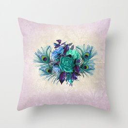 Peacock Feather Flowers Throw Pillow