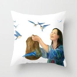 Korean Cinderella: Swallows Throw Pillow