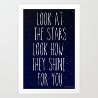 coldplay Art Prints featuring Look How They Shine For You by Adel