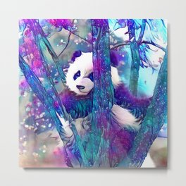 Moonlight Starfall Panda Metal Print
