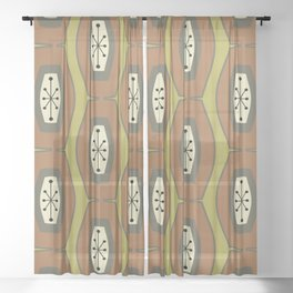 Midcentury Funky Chain Chartreuse Sheer Curtain