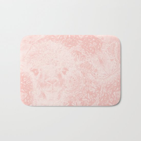 Ghostly alpaca and butterfly with mandala in Rose Quartz Bath Mat