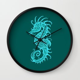 Intricate Teal Blue Tribal Seahorse Design Wall Clock