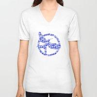 mockingjay V-neck T-shirts featuring Mockingjay - Floral by Elisa Gordon