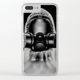 Toxic environment RED / Halftone hazmat dude Clear iPhone Case
