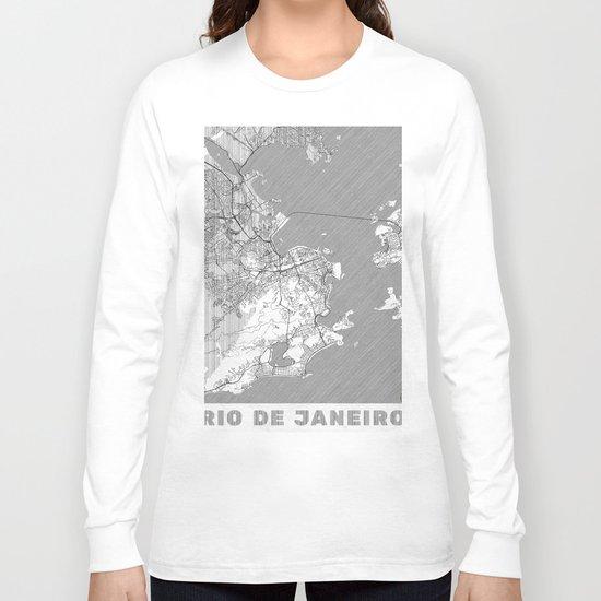 Rio de Janerio Map Line Long Sleeve T-shirt