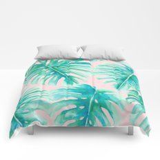 Paradise Palms Blush Comforters