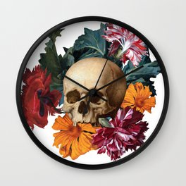 Skull with flowers. Antique colorful Oil Painting. Collage Surreal Art. Wall Clock