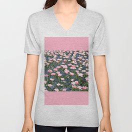 Pink Foxtrot tulips with blue forget-me-nots Unisex V-Neck
