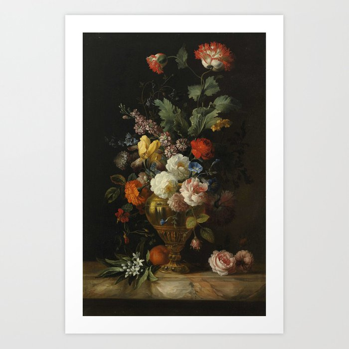 by the painter Jacob Bogdani, - A Still Life of Roses and other Flowers Kunstdrucke