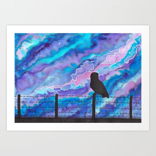 Galaxy Owl Art Print
