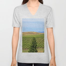 Wine Country Rows of Vines Unisex V-Neck