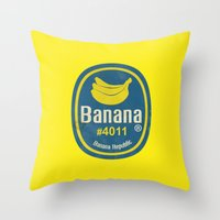 sticker Throw Pillows featuring Banana Sticker On Yellow by Karolis Butenas