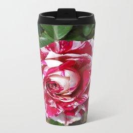 A Red and White Rose Metal Travel Mug