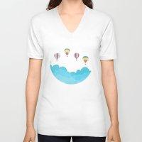 hot air balloons V-neck T-shirts featuring hot air balloons by studiomarshallarts