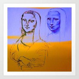 Mona Yellow&Blue Art Print
