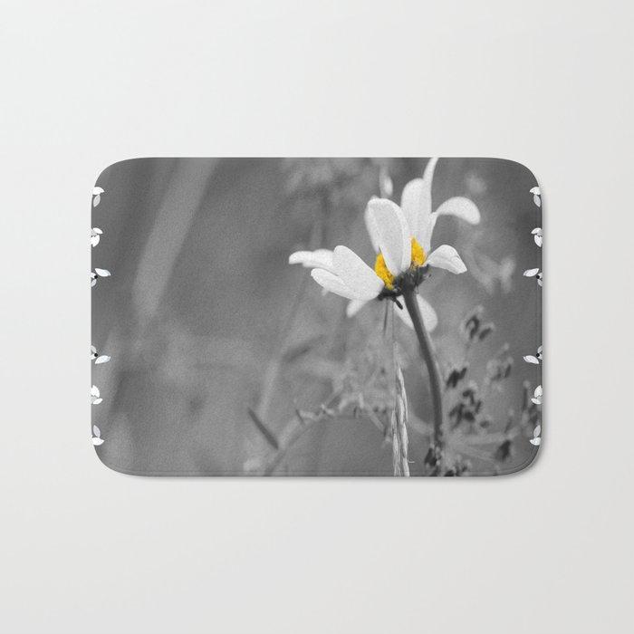 White daisy on a grey day #decor #society6 Bath Mat